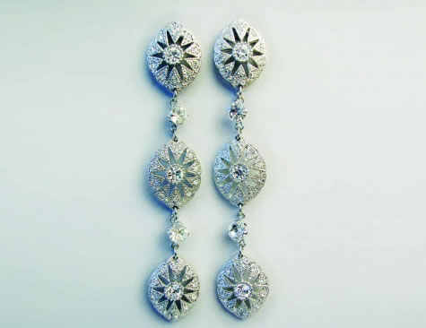 Charleston Drop Earrings - Bridal / Evening Wear - Couture Jewellery Collection from the Wedding Accessory Boutique