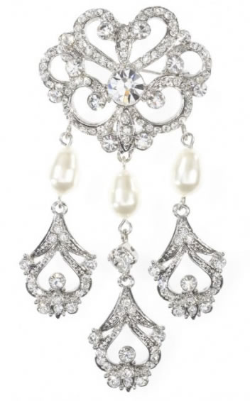 Hayworth Pearl Brooch - Bridal / Evening Wear - Couture Jewellery Collection from the Wedding Accessory Boutique