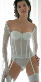 Bridal Lingerie Set 15 - Beautiful Italian Designer Wedding Lingerie - Available from online shop of The Wedding Accessory Boutique - Bridal Lingerie Set 15 includes Corsets &  String Pants (Briefs) - Well suited to Wedding Dresses with Bustier Bodice - Shop online with Wedding Acessories Boutique