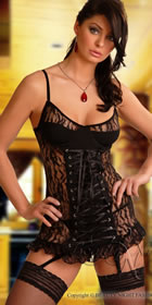 Sexy Black Lingerie For Honeymoons & Gifts - Beverley Babydoll / Negligee with Suspender Straps & Thong - Beauty Nights Lingerie  code:- Grampian